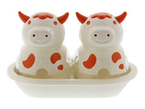 Cow Salt And Pepper Shaker Set - Pair Of Shakers, Butter Dish Holder, Glass Storage Globe, Kitchen Set, Colors May Vary, 5 Inches