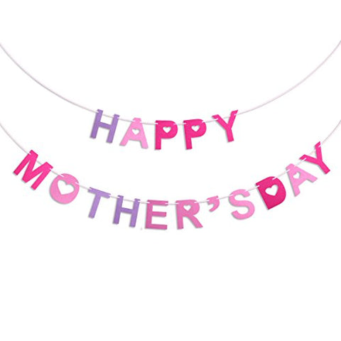 Oulii Mother'S Day Banners Happy Mother'S Day Capitalized Letter And Hearts Cutouts Bunting Garland Decoration