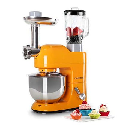 Klarstein Lucia Orangina  Multifunction Stand Mixer  Kitchen Machine  650 Watts  5.3 Qt Bowl  1.3 Qt Mixing Glass  Meat Grinder  Pasta Maker  Blender  Adjustable Speed  Orange