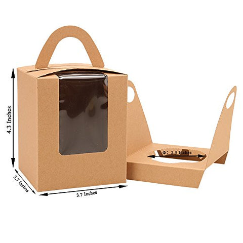Cupcake Box Clear Display Window With Strong Handle And Secure Insert Bakery Box Holder Single Cupcake Carrier Individual Cake Container For Parties And Events (25, Brown)