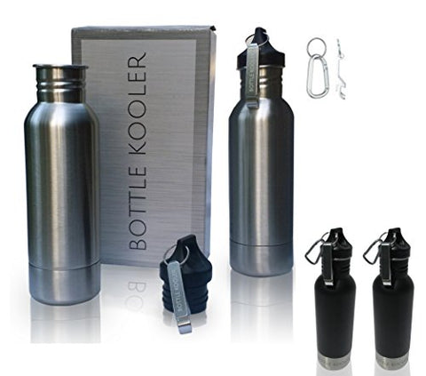 Bottle Kooler - Stainless Steel Bottle Insulator  - Keeps Beer Cold Longer - Fits Most 12Oz Bottles - With Bottle Opener. & Carabiner. Also In Black