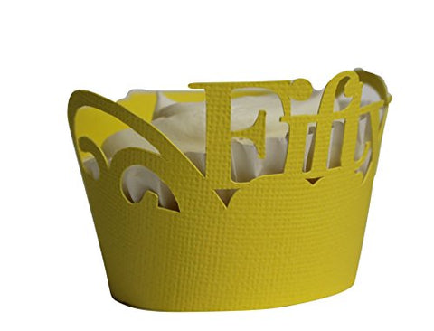 All About Details Yellow Fifty Cupcake Wrappers, Set Of 12