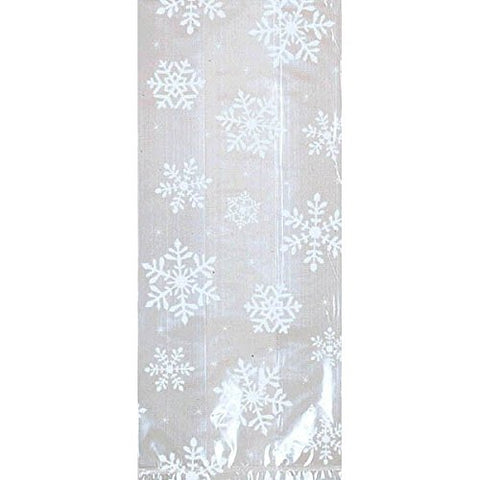 Amscan 20 Count 11-1/2  By 5  By 3-1/4  Cello Festive Snowflakes Party Bags, Large, Clear/White