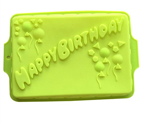 7Inch Happy Birthday Cake Mold Pan Chocolate Pizza Baking Tray Silicone Mould Square Witn Balloon