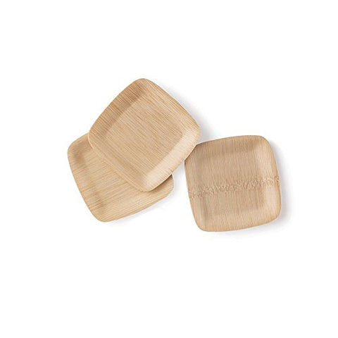 Bambu  5 Bamboo Square Tasting  Plates    Compostable, Eco Friendly& Disposable For Home And Catering  All Natural 100% Compostable