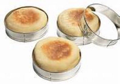 English Muffin Rings Crumpet Biscuit Cookie Egg Molds Tinplated New Box Set Of 4