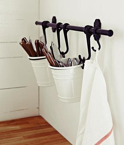 Ikea Steel Kitchen Organizer Set, 22.5-Inch Rail, 5 Hooks, Black