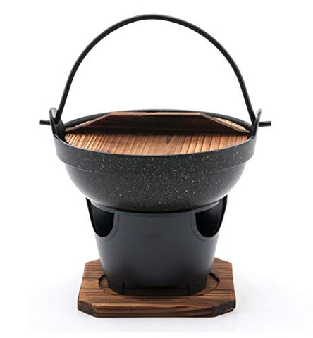 Hinomaru Collection Japanese Style Single Serving Shabu Shabu Hot Pot Sukiyaki Irori Nabe Pot With Wooden Lid And Cooking Stove 32 Fl. Oz 7  Diameter