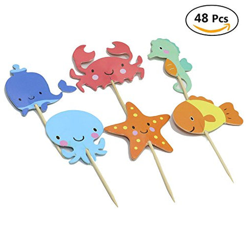 Huele Ocean Sea Animal Creature Fish Starfish Whale Octopus Crab Sea Horse Cake Cupcake Topper Picks For Party Decorations