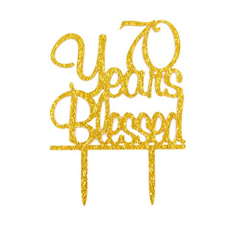 FirefairyTm 70 Years Blessed Acrylic Cake Topper 70Th Birthday Anniversary Party Decoration Supplies