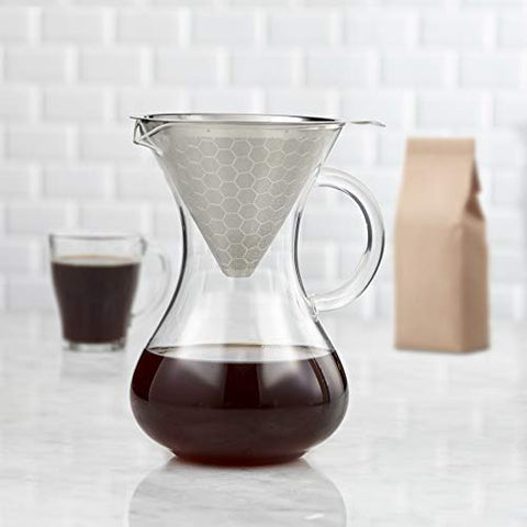 Drip Coffee Maker Glass Carafe With Pour Over Stainless Steel Drip Coffee Paperless Filter