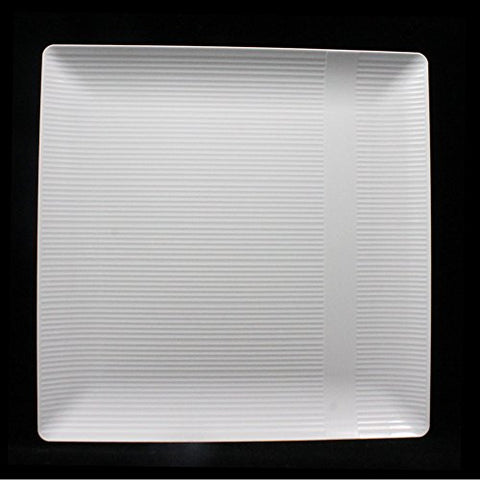 Crown Premium Heavy Duty Plastic Plates - Linear Squared  - Wedding China Like (10.25 Inch., White)