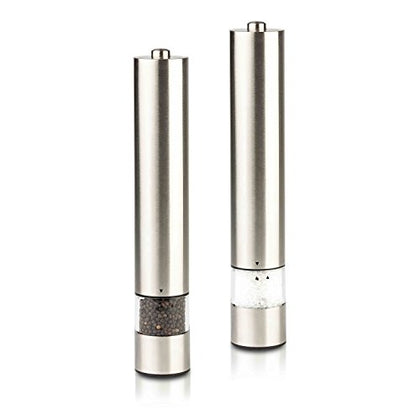 Modernhome Gourmet Electric Salt And Pepper Grinder Set, Silver