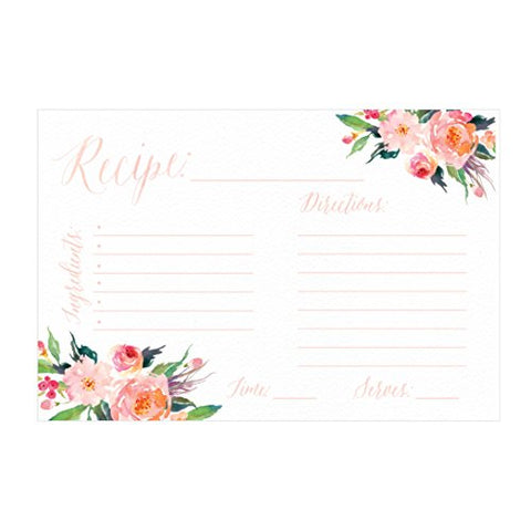 4X6 Recipe Cards, (Set Of 50) Recipe Cards, Blank Recipe Cards, Recipe Cards For Bridal Shower, Thick Recipe Card, Recipe Note Cards