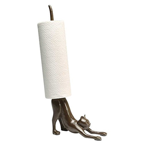Paper Towel Stand - Yoga Cat Cast Iron Holder - Exclusive From What On Earth