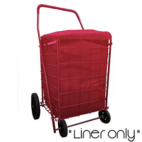 Folding Shopping Cart Liner Insert Water Proof With Cover In 3 Color (Liner Only) (Red)