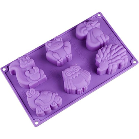 Joyi 6-Cavity Lovely Kangaroo Turtle Frog Hedgehog Silicone Cake Chocolate Soap Decoration Mold Random Color