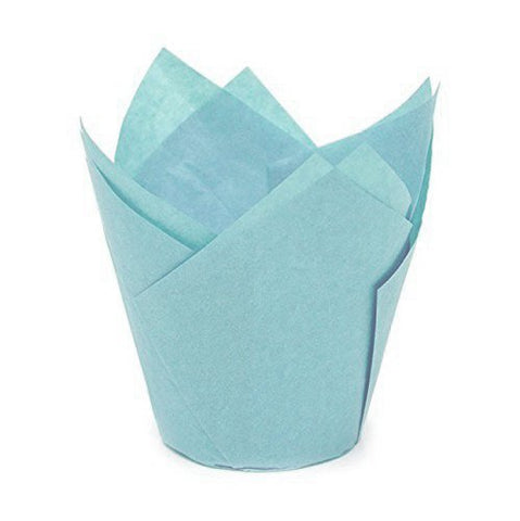 Tulip Baking Cups | Cupcake Or Muffin Liners (Baby Blue) 100 Count