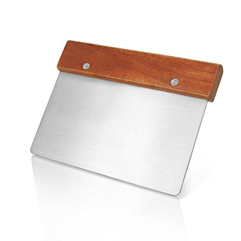 New Star Foodservice 36237 Wood Handle Dough Scraper, 6 By 3-Inch, Silver