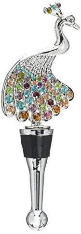 Ls Arts Peacock With Stones Bottle Stopper, Multicolor