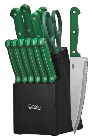 Ginsu Essential Series 14-Piece Stainless Steel Serrated Knife Set  Cutlery Set With Green Kitchen Knives In A Black Block, 03888Ds