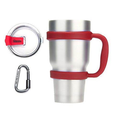 Umiwe Anti-Slip Handle For Yeti Rambler Ozark Trail 30 Oz Tumbler Colorful Cup Mug Grip Holder With Spill Proof Lid & Carabiner (Red)