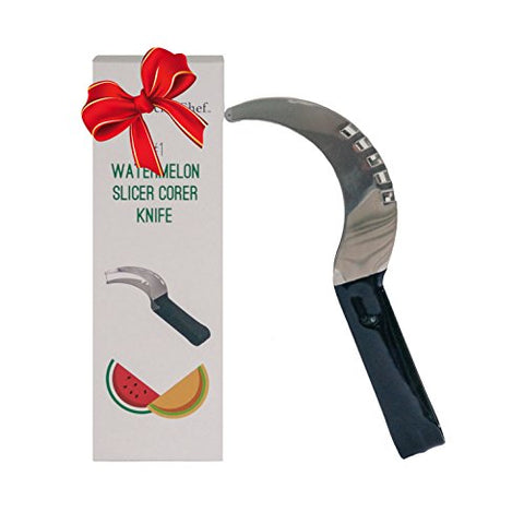 Watermelon Slicer Corer Cutter Knife Fruit Server Tool - Shamrock Chef - Stainless Steel - Large Size - Comfortable Rubber Handle - Makes Perfect Gift