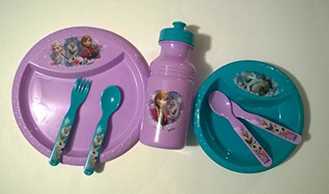 Disney Frozen Mealtime Set- Plate, Bowl, Spoons, Forks, Waterbottle