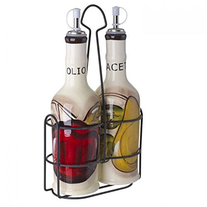 Original Cucina Italiana Ceramic Olive Oil,Vinegar 14 Oz. Dispenser Bottle 3 Piece Set (Soft White)