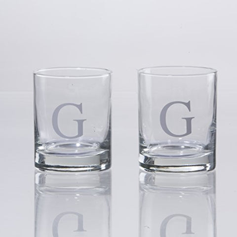 Personalized Scotch Whiskey Glasses Set Of 2, Old Fashioned Barware Glassware With Sandblasted Monograms, 7.75 Oz Capacity Each (G)