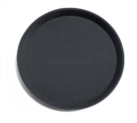 New Star 25217 Nsf Plastic Round Rubber Lined Non-Slip Tray, 16-Inch, Black