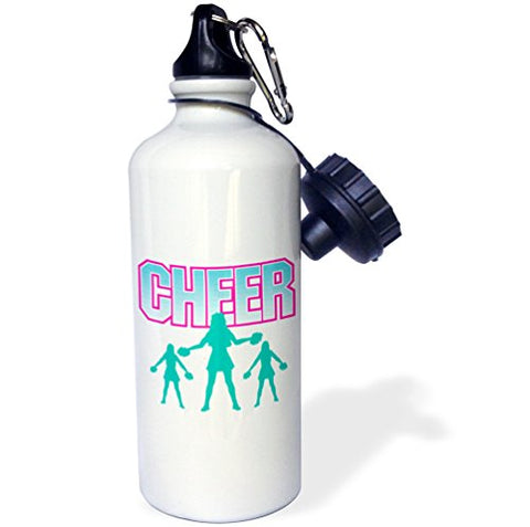 3Drose Wb_116297_1 Cheerleading Cheerleader Cheer Sports Design Sports Water Bottle, 21 Oz, White