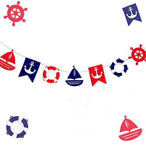 Jevenis Nautical Bunting Banner Nautical Party Decorations Navy Banners For Baby Shower Boy Birthday Party