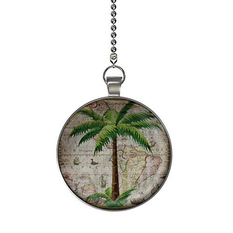 Gotham Decor Classic Palm Tree Ceiling Fan/Light Pull Pendant With Chain