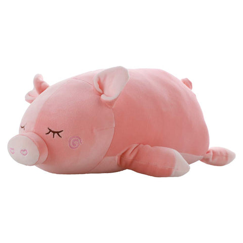 Elastic Pig Plush Stuffed Animal - Super Soft Piglet Plush Toys For All Ages  Cute Piggy Doll Throw Pillows - Pink- Measures 17 Inch