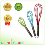 Silicone Kitchen 3 Whisk Set For Whisking, Blending, Beating, Stirring, Egg And Milk Frother, Eggbeater (Red: 12-Inch, Blue: 10-Inch, Green: 9-Inch) By Depot Globe