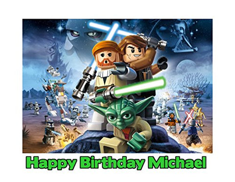 Lego Star Wars Image Photo Cake Topper Sheet Personalized Custom Customized Birthday Party - 1/4 Sheet - 79957