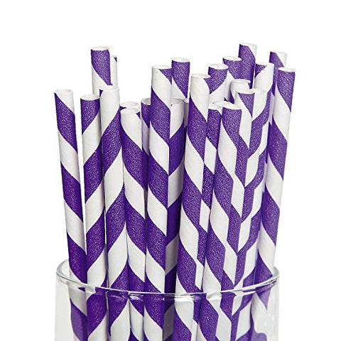 Purple Striped Paper Straws - 24 Pcs