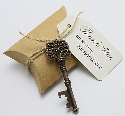 50Pcs Wedding Favors Candy Box W/ Antique Skeleton Key Bottle Openers Escort Card Thank You Tag Pillow Box (Key Style #1)