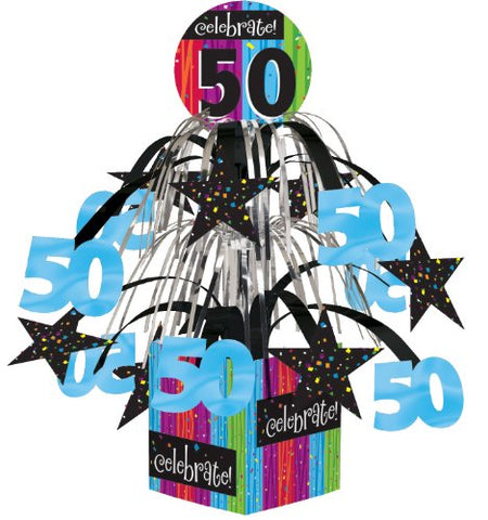 Creative Converting Party Decoration Metallic Foil Cascading Centerpiece, Milestone Celebrations 50Th
