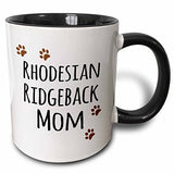 3Drose Rhodesian Ridgeback Dog Mom Doggie By Breed Brown Paw Prints Doggy Lover Pet Owner Mama Love Two Tone Black Mug, 11 Oz, Black/White