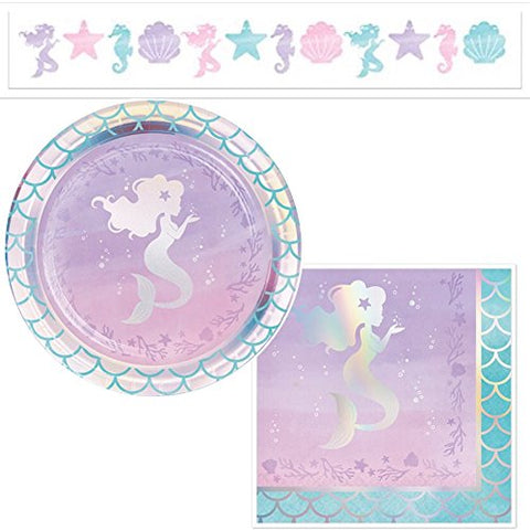 Mermaid-Themed Party Supplies Serves 16: Plates + Napkins + Banner