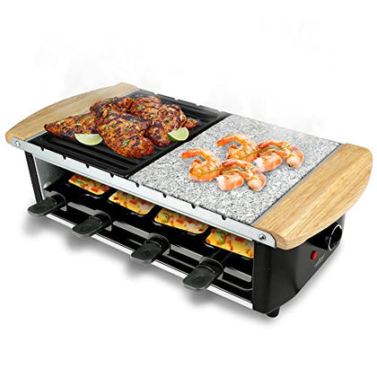 Nutrichef Raclette Grill, Two-Tier Party Cooktop, Stone Plate & Metal Grill,8 Serving Tray, Perfect For Cheese, Vegetables, Meats, Seafood & More 1000 Watt (Pkgrst54)