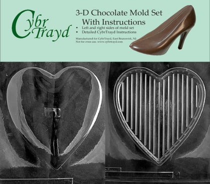 Cybrtrayd V301Ad Chocolate Candy Mold, Includes 3D Chocolate Molds Instructions And 2-Mold Kit, Pour Heart Plain Heart Top