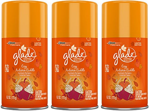 Glade Automatic Spray Refill - Limited Edition - Winter Collection 2017 - Cozy Autumn Cuddle - Net Wt. 6.2 Oz (175 G) Per Refill Can - Refill Cans