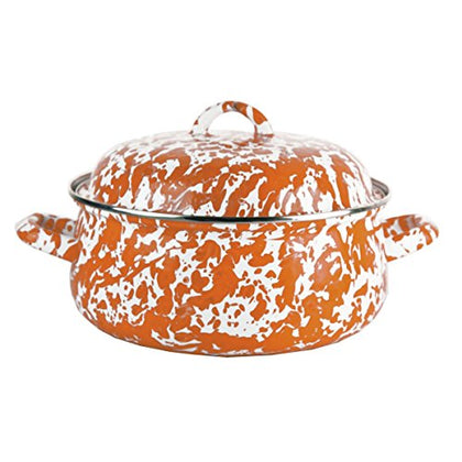 Enamelware - Orange Swirl Pattern - Dutch Oven