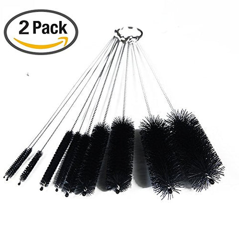Dxg Cleaning Brush Set, 8.2 Inch Nylon Tube Brush Set For Drinking Straws, Glasses, Keyboards, Jewelry Cleaning, Set Of 20, Black