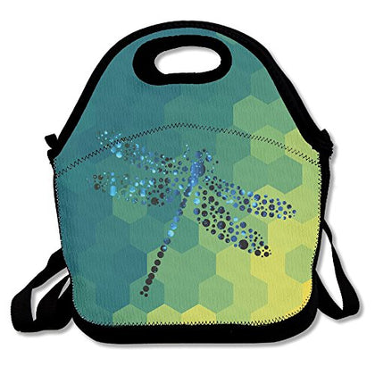 Dragonfly Insect Small Dots Insulated Lunch Bag - Neoprene Lunch Bag - Large Reusable Lunch Tote Bags For Women, Teens, Girls, Kids, Baby, Adults Portable Carry