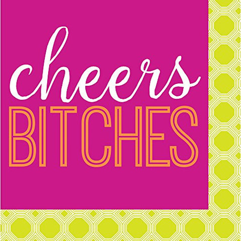 Cypress Home Cheers Bitches Paper Cocktail Napkin, 20 Count