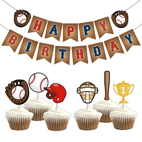 Kreatwow Baseball Birthday Party Decorations Baseball Happy Birthday Bunting Banner Cupcake Toppers For Kids Sports Party Decorations
